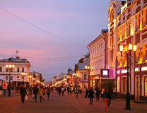 Sunset at main street Nizhny Novgorod Stock Photography