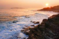 Sunset in Maine. Golden sunset on the Atlantic coastline of Maine Royalty Free Stock Photo