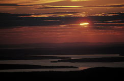 Sunset in Maine, USA. Sunset behind clouds from Cadillac Mountain in Acadia National Park, Maine, USA Stock Image
