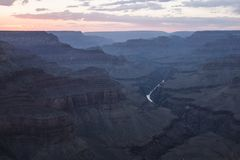 After the sunset in the Grand Canyon stock photography