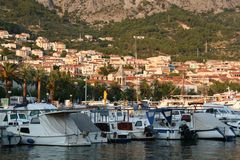 Sunset in Makarska, Croatia. Yaht's port. Stock Image