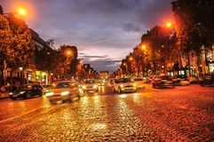 Sunset makes way for night in Paris, France royalty free stock image