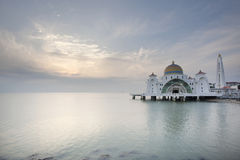 Sunset at Malacca Straits Mosque. In Pulau Melaka Malaysia royalty free stock photos