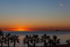 Sunset at Malaga beach Royalty Free Stock Image
