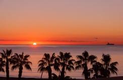 Sunset at Malaga beach Stock Photography