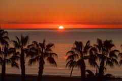 Sunset at Malaga beach Stock Image