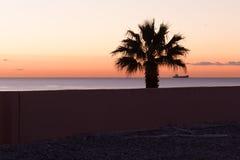 Sunset at Malaga beach Royalty Free Stock Photo