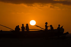 Sunset on malagasy dugout Stock Photos