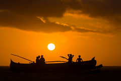 Sunset on malagasy dugout Stock Images