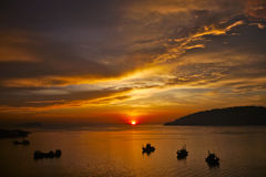 Sunset in Malaysian Sea Stock Photography