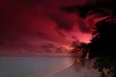 Sunset in the Maldives Stock Photos