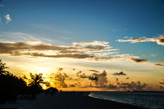 Sunset in Maldives island view. The Maldives in October, indian ocean, Ari Atoll Stock Photography