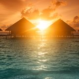 Sunset on Maldives island, Royalty Free Stock Photography