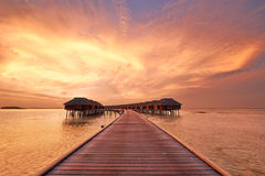 Sunset at Maldivian beach Stock Photography