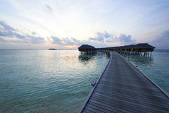 Sunset at Maldivian beach Stock Image
