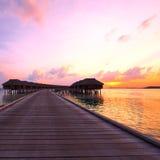 Sunset at Maldivian beach Royalty Free Stock Photo