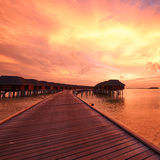 Sunset at Maldivian beach Stock Images