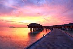 Sunset at Maldivian beach Stock Photos