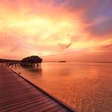 Sunset at Maldivian beach Royalty Free Stock Photos