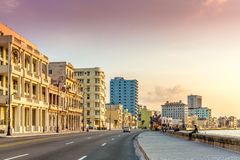 Sunset at Malecon avenue in Havana, Cuba.  Stock Image