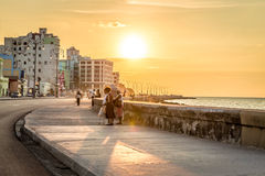 Sunset at Malecon avenue in Havana, Cuba.  Stock Photography