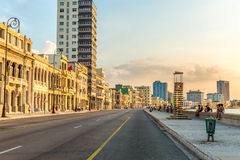 Sunset at Malecon avenue in Havana, Cuba.  Royalty Free Stock Image
