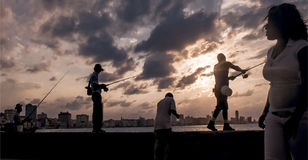 Sunset at Malecon, Cuba. Daylife at Malecon, Havana& x27;s seafront Stock Image