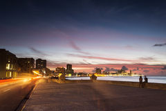 Sunset at Malecon, the famous Havana promenades where Habaneros, Stock Images