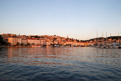 Sunset in Mali Losinj,Croatia. Sunset in harbour in Mali Losinj in summer,Croatia Stock Photography