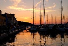 Sunset in Mali Losinj,Croatia. Sunset in marina inMali Losinj in summer,Croatia Royalty Free Stock Photo