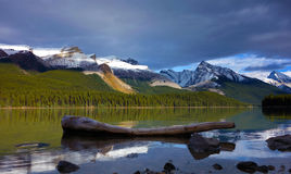 Sunset in Maligne lake. Magical Jasper national park, Canada Stock Photos