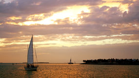 Sunset at Mallory Square in Key West Royalty Free Stock Images