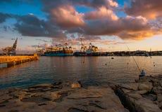 Sunset in Malta. Birzebbuga Stock Photo