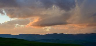 Sunset in the Maluti Mountains stock photo