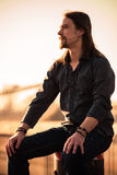 Sunset man portrait Stock Photos