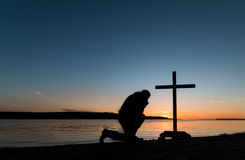 Sunset Man of Prayerfulness Royalty Free Stock Image