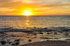 Sunset on Mana Island in Fiji Royalty Free Stock Image