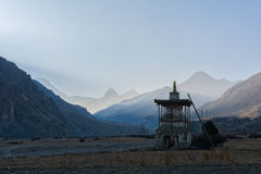 Sunset in Manang valley, Nepal Royalty Free Stock Images