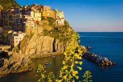 Sunset in Manarola, Cinque Terre, Italy. Sunset in Manarola, beautiful town at Cinque Terre, Italy royalty free stock photo
