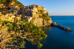Sunset in Manarola, Cinque Terre, Italy. Sunset in Manarola, beautiful town at Cinque Terre, Italy Royalty Free Stock Images