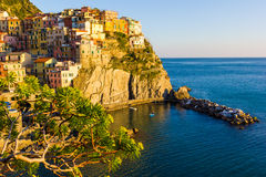 Sunset in Manarola, Cinque Terre, Italy Stock Images