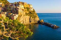 Sunset in Manarola, Cinque Terre, Italy. Sunset in Manarola, beautiful town at Cinque Terre, Italy stock images