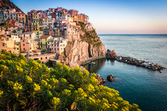 Sunset in Manarola, Cinque Terre, Italy Royalty Free Stock Images