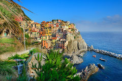 Sunset in Manarola village Stock Image