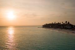 Sunset at Manchebo beach on Aruba island Royalty Free Stock Photo