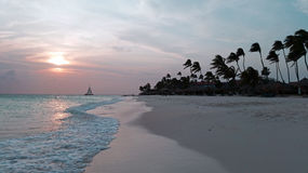 Sunset at Manchebo beach on Aruba island i. N the Caribbean Royalty Free Stock Image