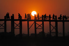 Sunset at Mandalay bridge Stock Images