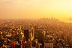 Sunset on Manhattan Stock Photos