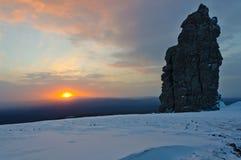 Sunset at the Manpupuner Plateau Stock Photo