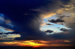 Sunset in the many cloudy. Sunset in the many cloudy in the evening Stock Photography